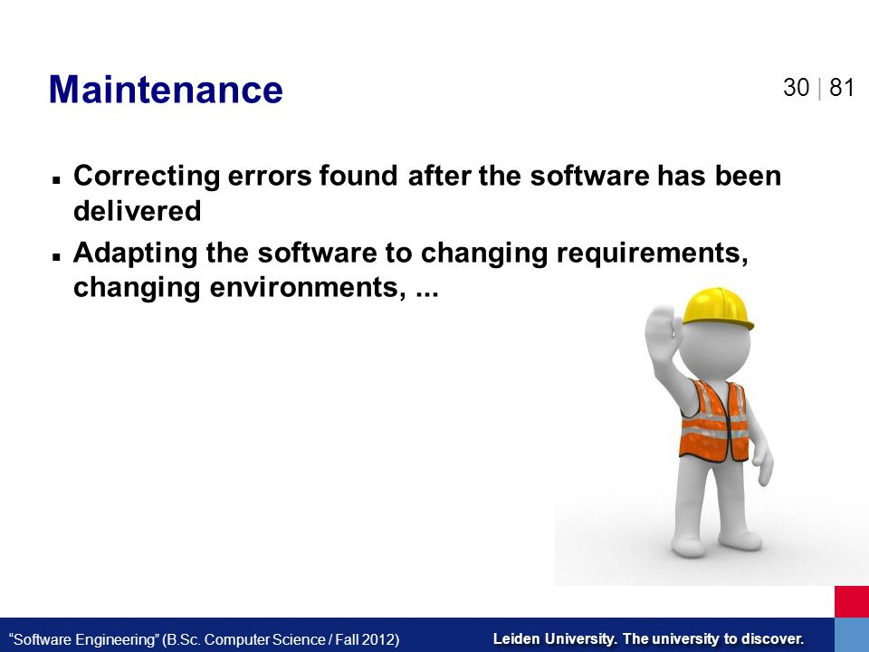Maintenance Correcting errors found after the software has been delivered.