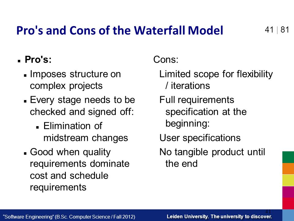 Pro s and Cons of the Waterfall Model