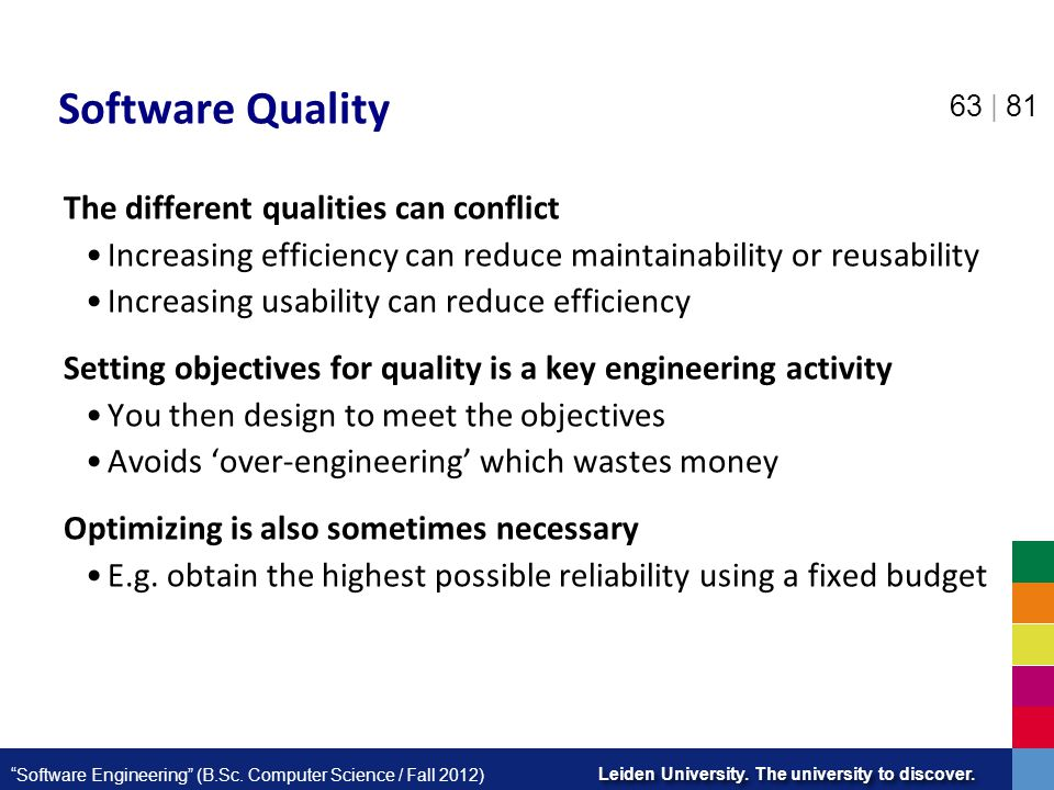 Software Quality The different qualities can conflict