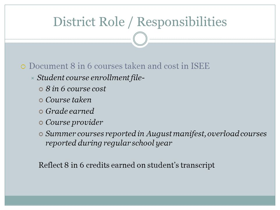 District Role / Responsibilities