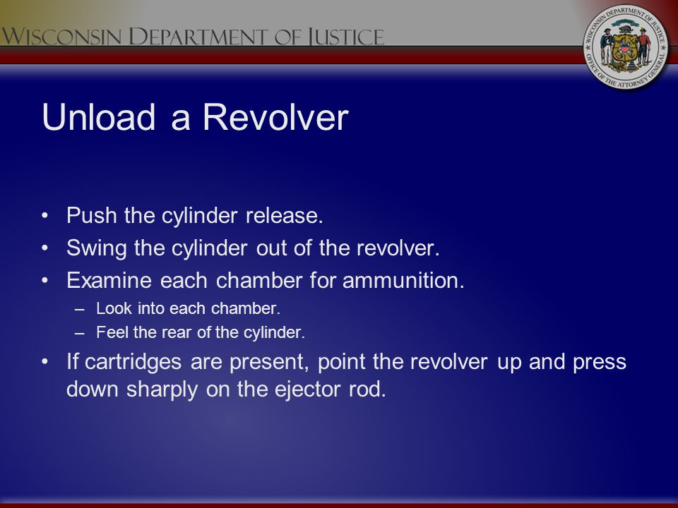 Unload a Revolver Push the cylinder release.