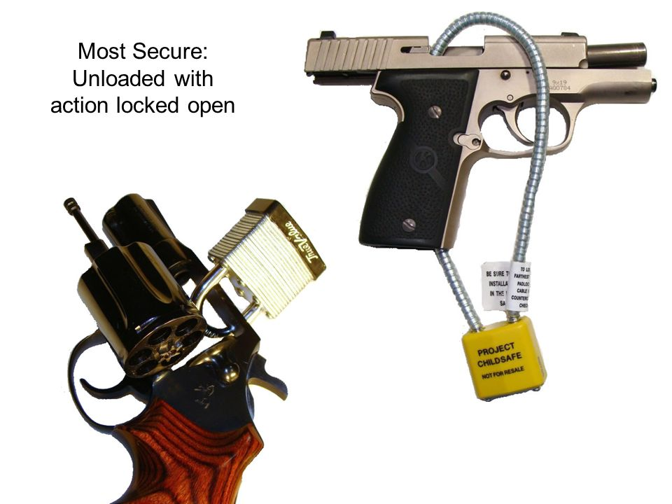 Most Secure: Unloaded with action locked open