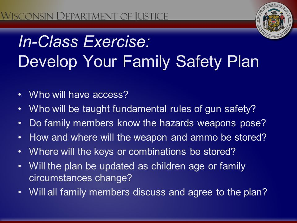 In-Class Exercise: Develop Your Family Safety Plan