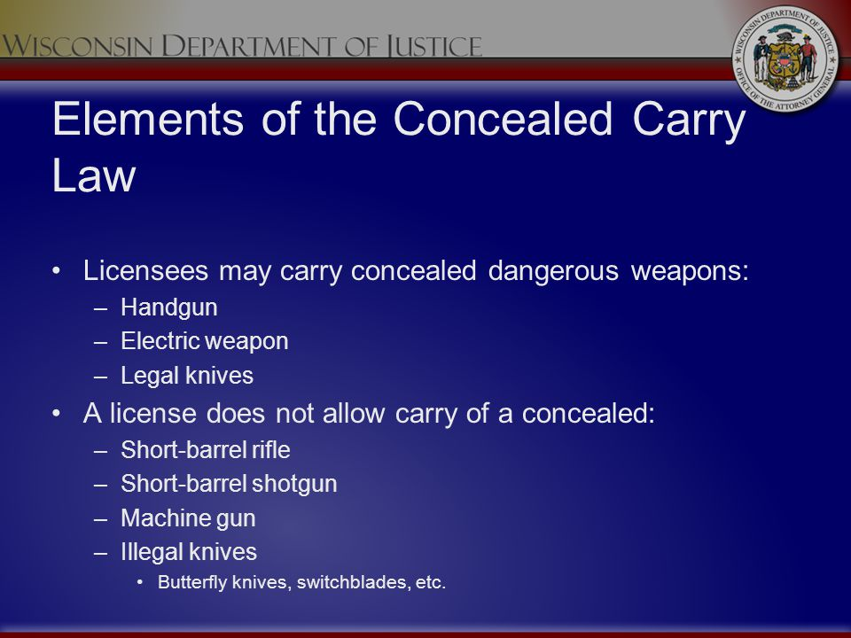 Elements of the Concealed Carry Law