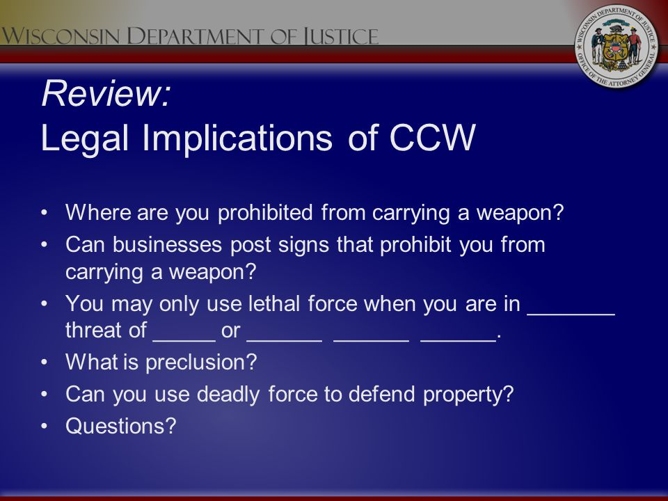 Review: Legal Implications of CCW