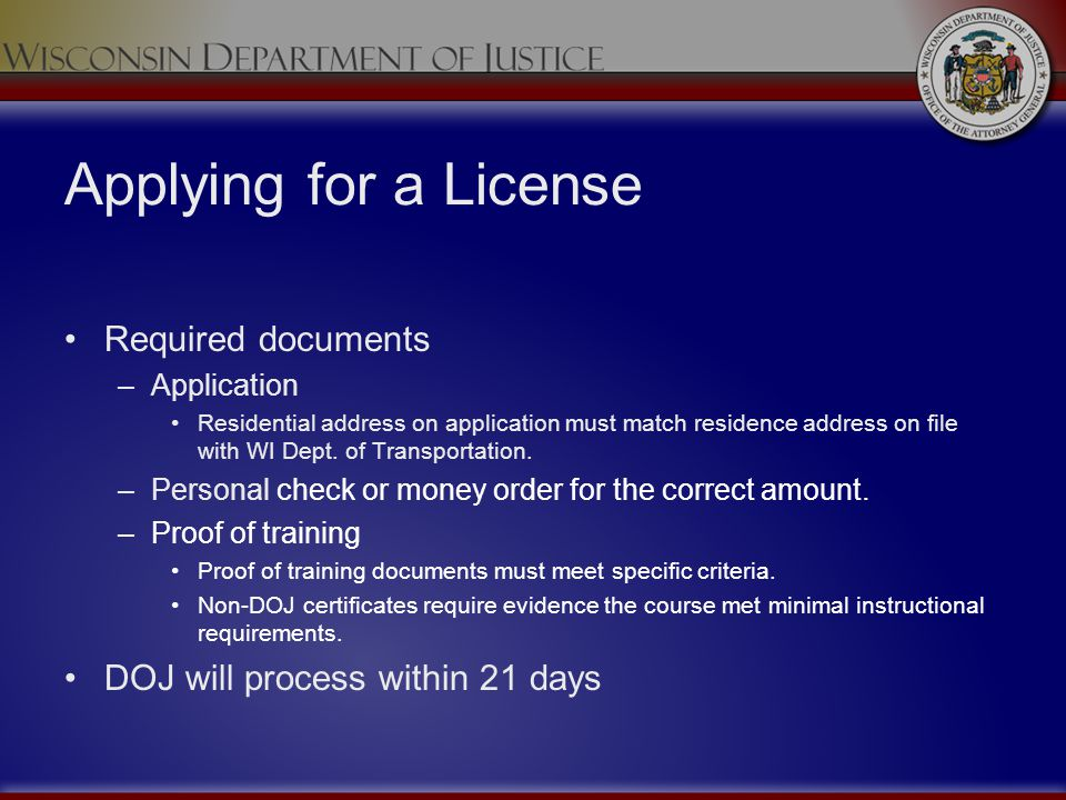 Applying for a License Required documents