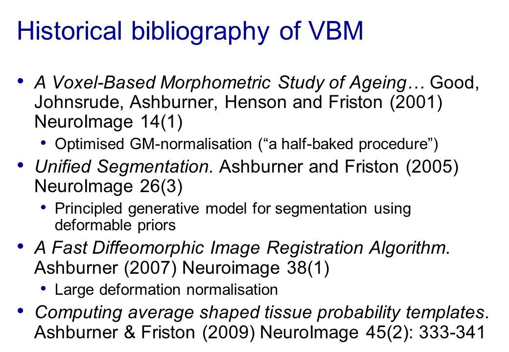 Historical bibliography of VBM