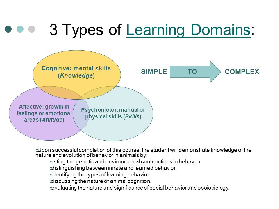 3 Types of Learning Domains: