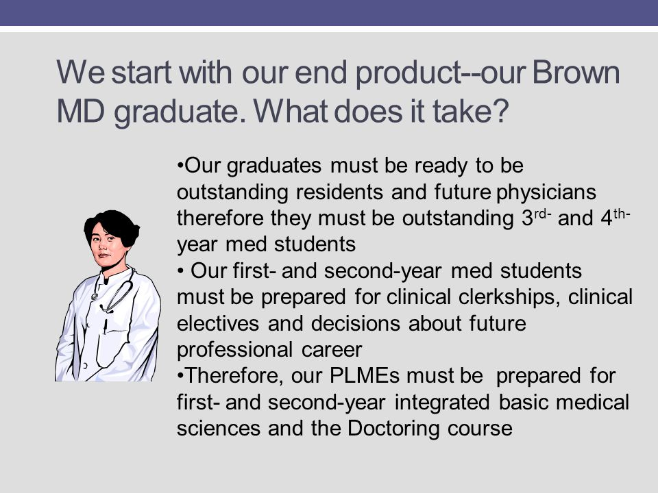 We start with our end product--our Brown MD graduate. What does it take