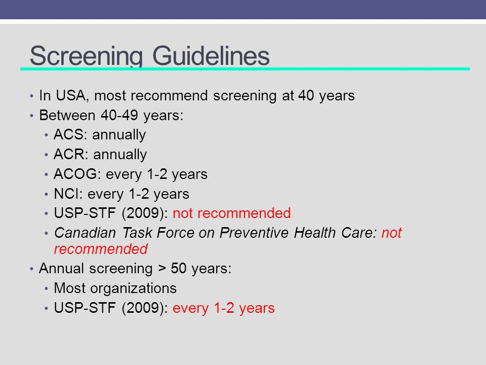 Screening Guidelines In USA, most recommend screening at 40 years