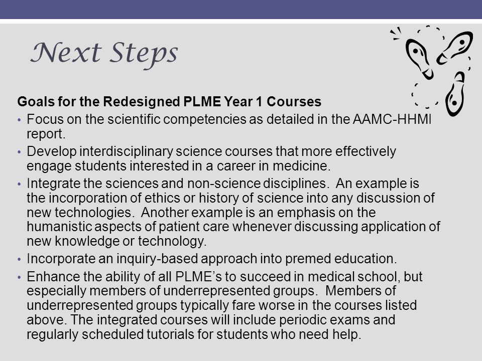 Next Steps Goals for the Redesigned PLME Year 1 Courses