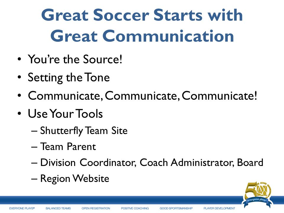 Great Soccer Starts with Great Communication