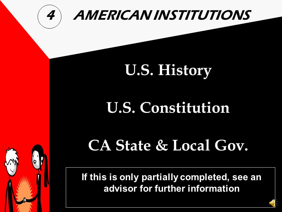 U.S. History U.S. Constitution CA State & Local Gov.