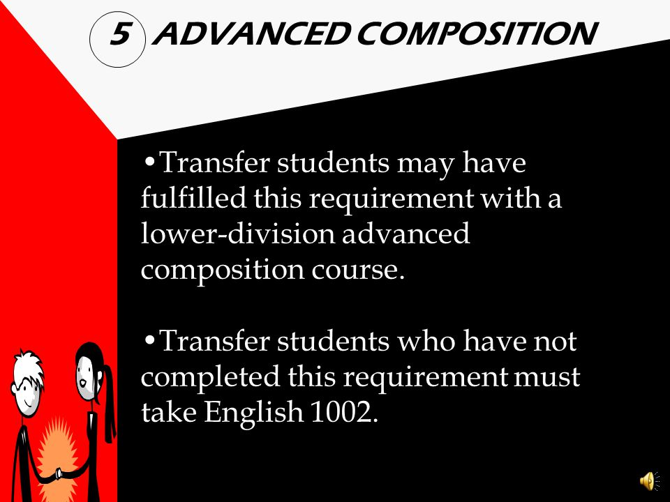 ADVANCED COMPOSITION Transfer students may have fulfilled this requirement with a lower-division advanced composition course.