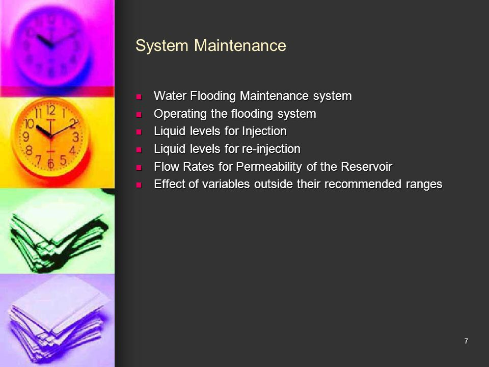 System Maintenance Water Flooding Maintenance system