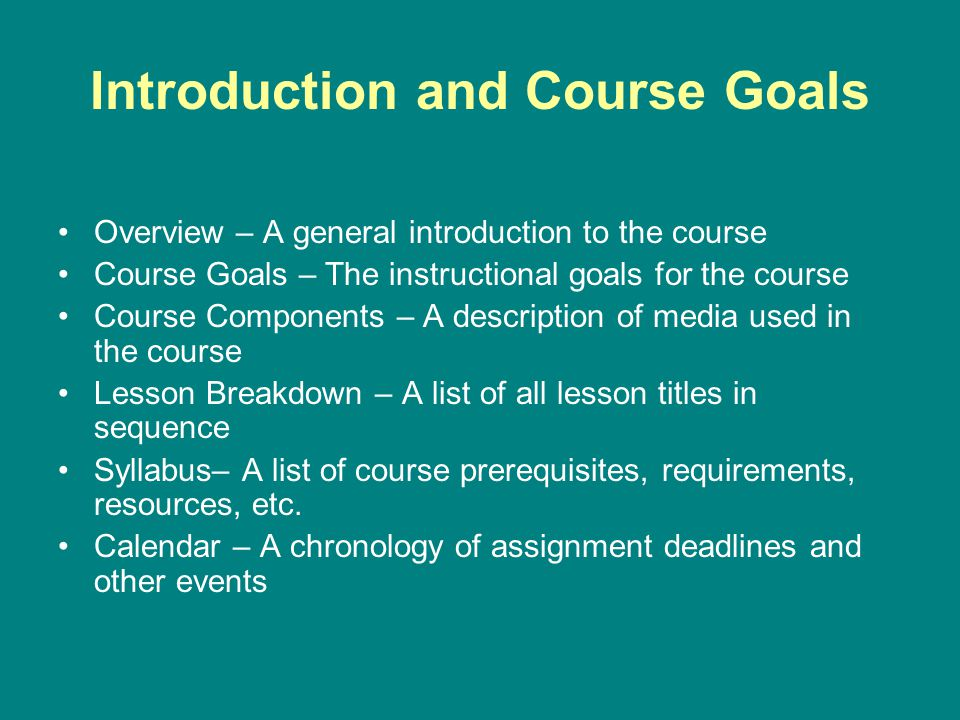 Introduction and Course Goals