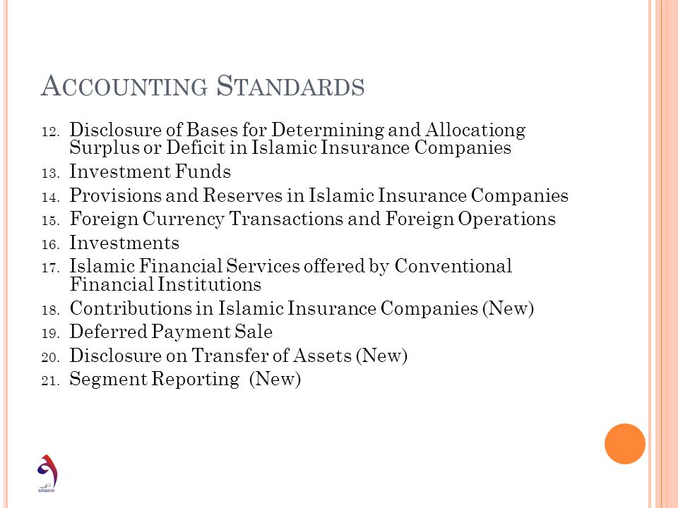 Accounting Standards Disclosure of Bases for Determining and Allocationg Surplus or Deficit in Islamic Insurance Companies.