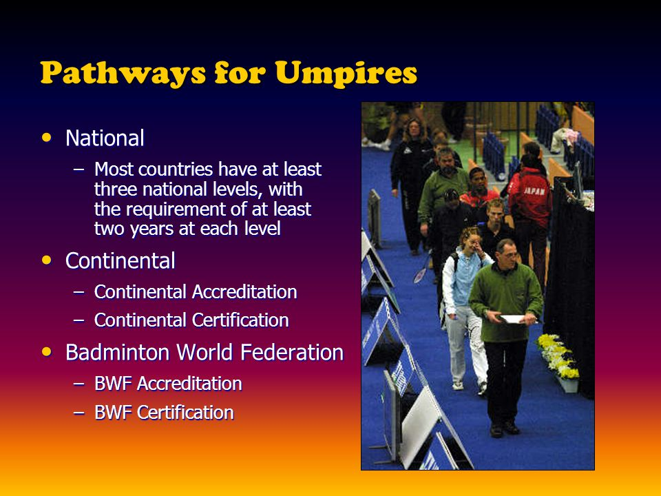 Pathways for Umpires National Continental Badminton World Federation