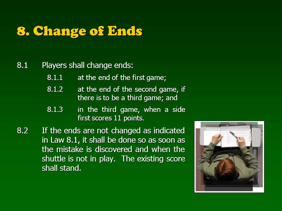 8. Change of Ends 8.1 Players shall change ends: