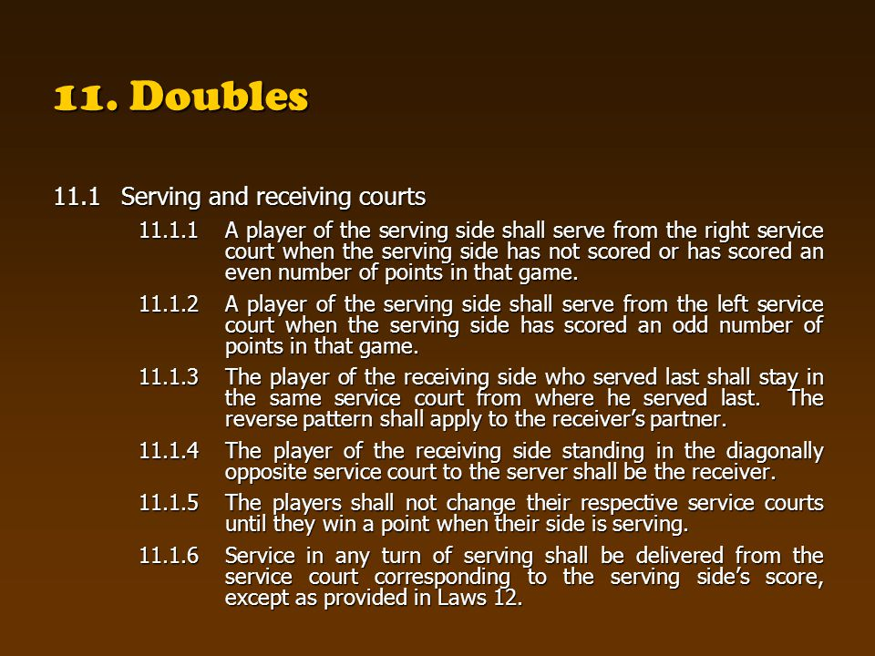 11. Doubles 11.1 Serving and receiving courts