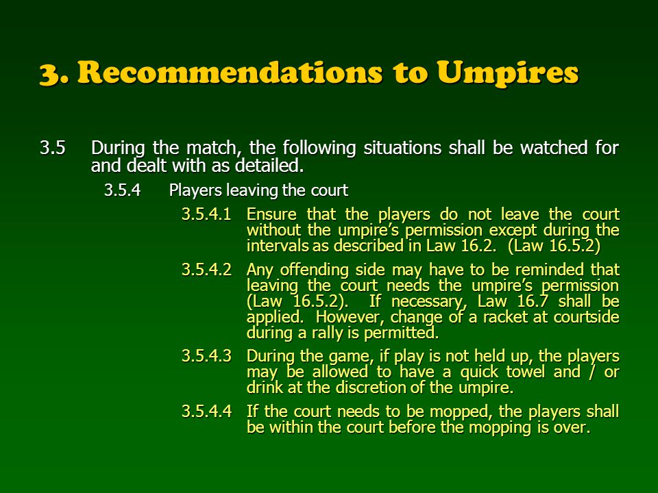 3. Recommendations to Umpires