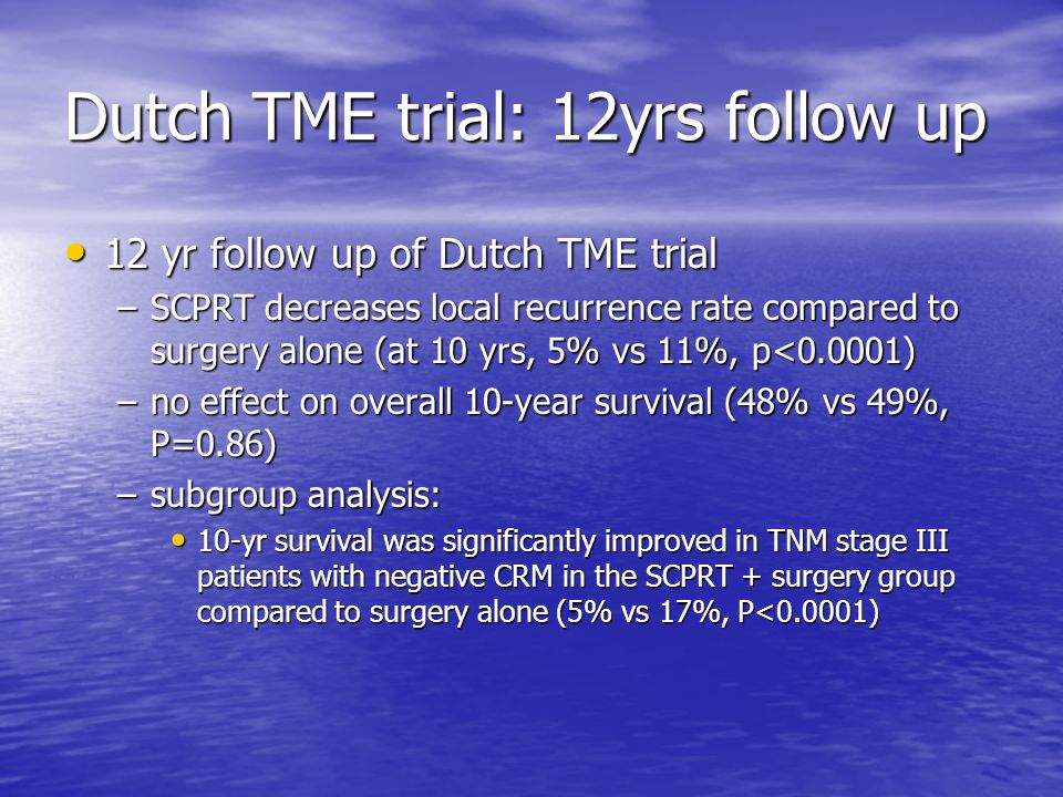 Dutch TME trial: 12yrs follow up