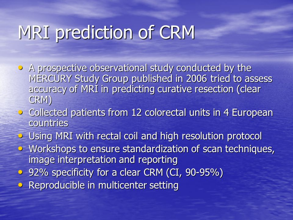 MRI prediction of CRM