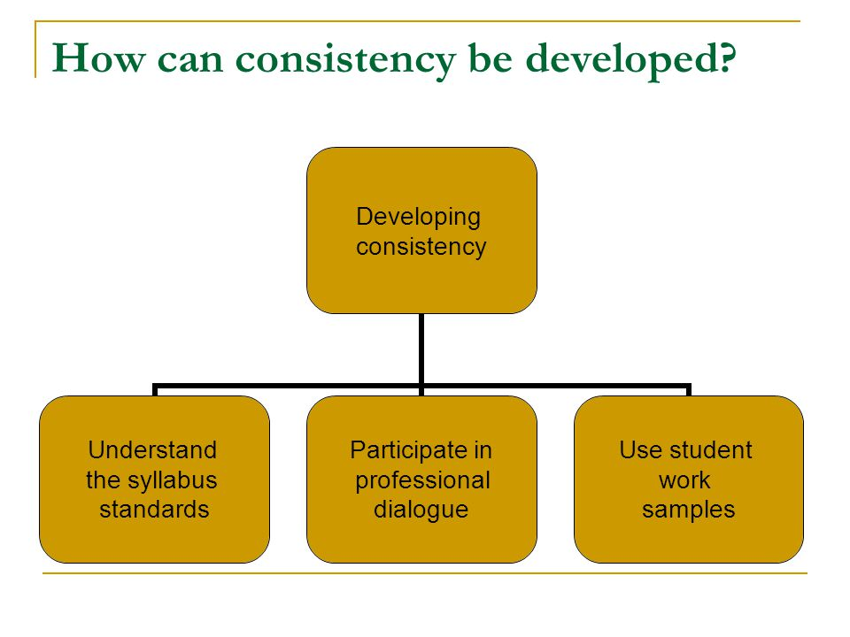 How can consistency be developed