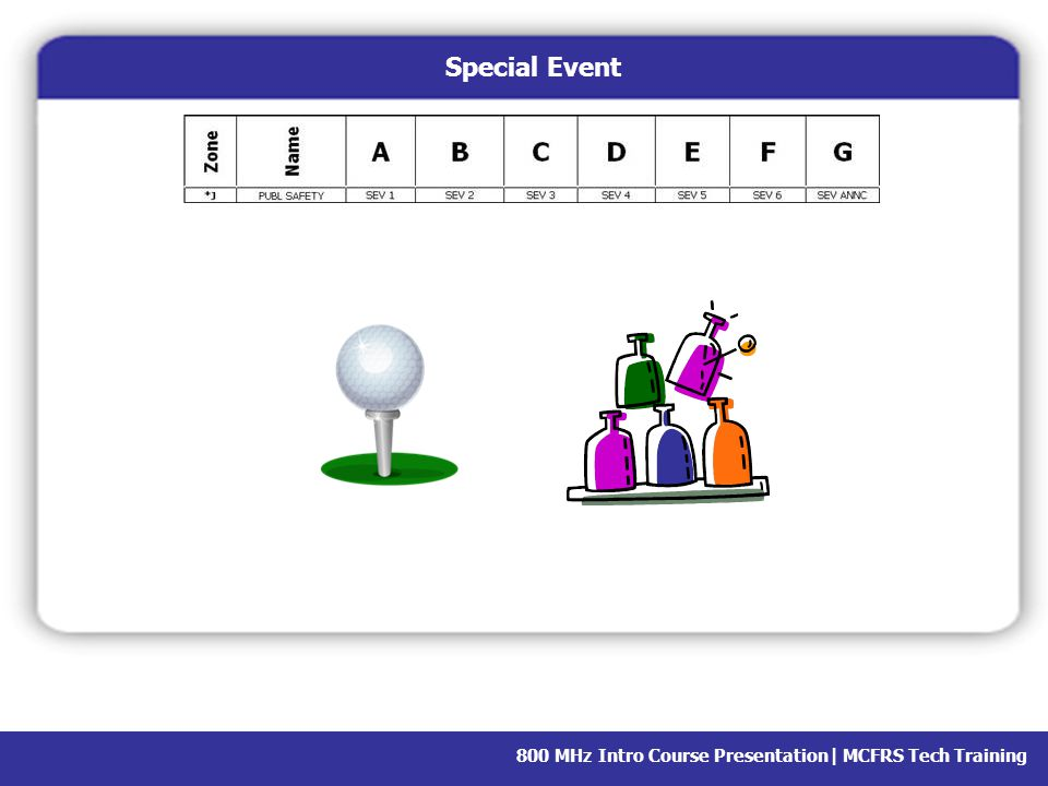 Special Event We have a few special events throughout the year, such as the golf tournament and the fair.