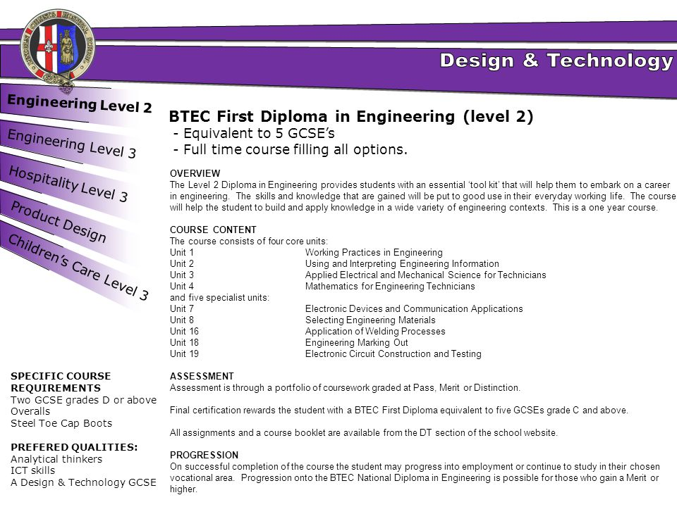 BTEC First Diploma in Engineering (level 2)