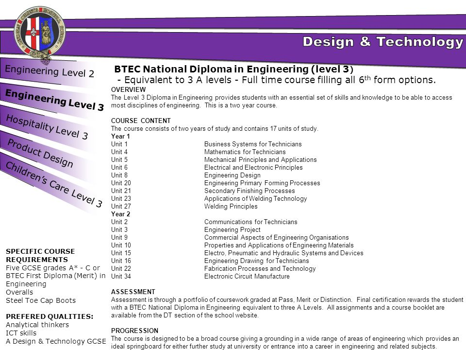 BTEC National Diploma in Engineering (level 3)