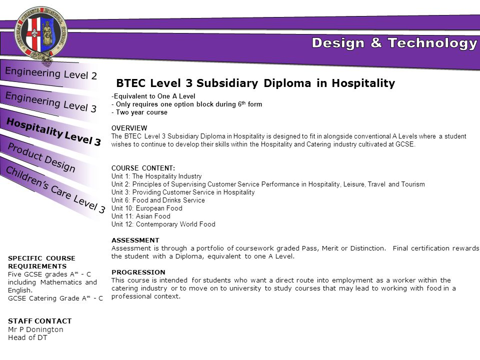 BTEC Level 3 Subsidiary Diploma in Hospitality