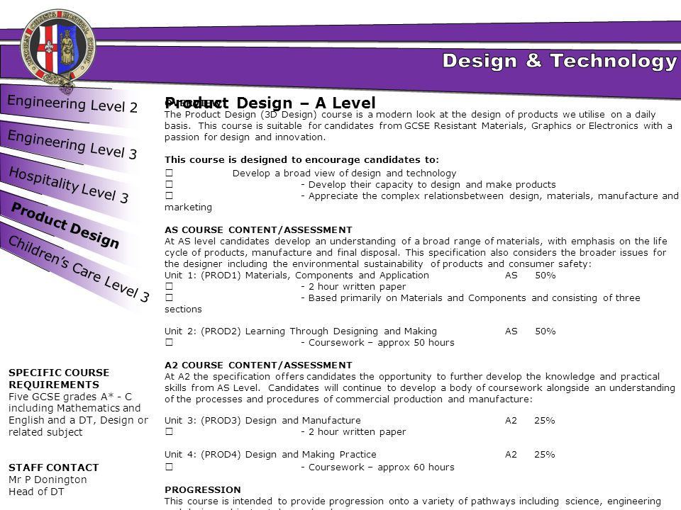Product Design – A Level