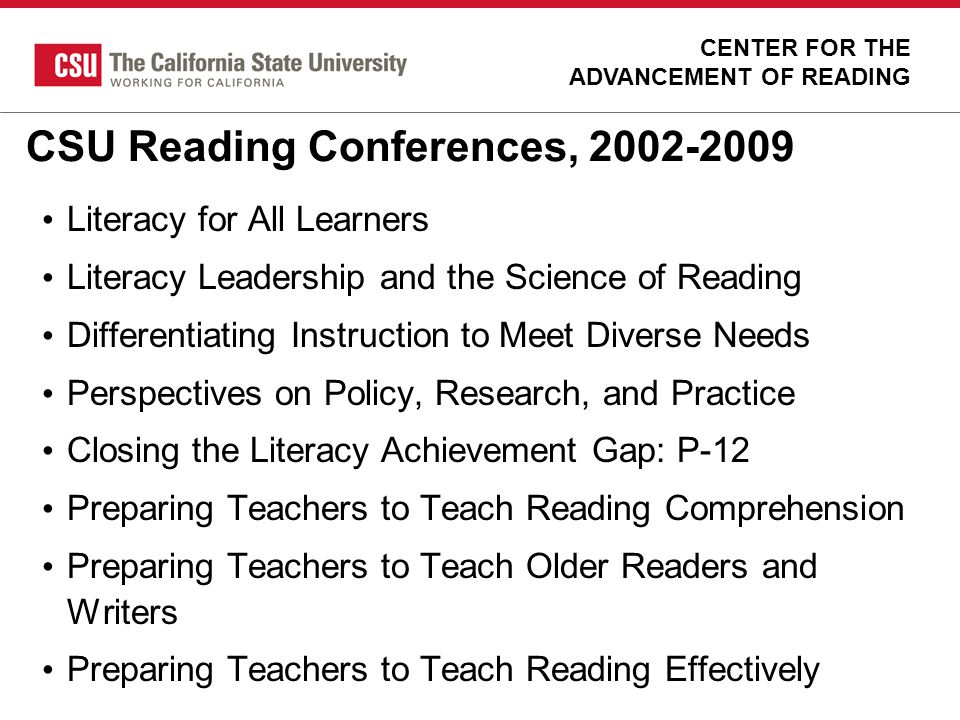 CSU Reading Conferences, 2002-2009