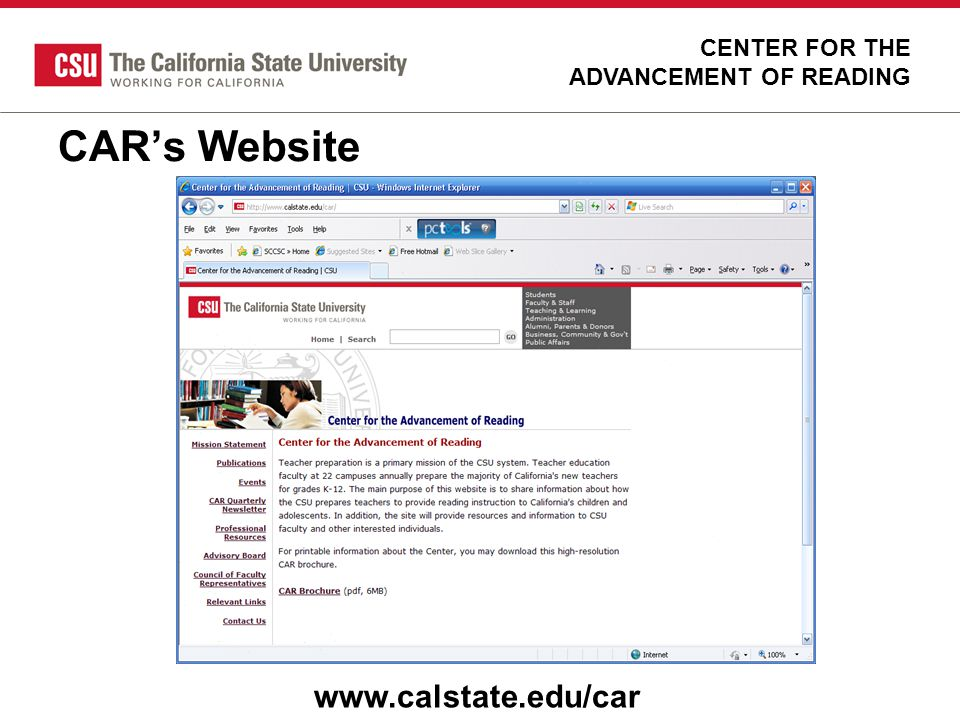 CAR's Website www.calstate.edu/car