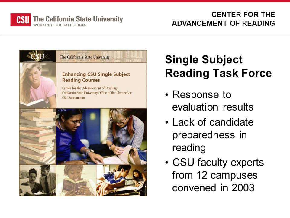 Single Subject Reading Task Force