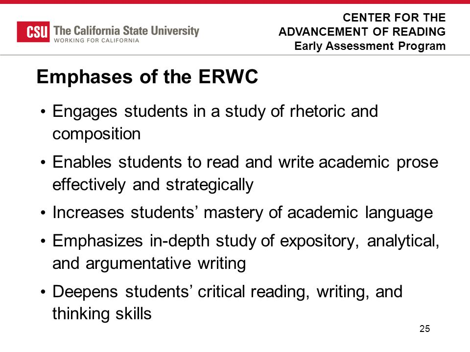 Emphases of the ERWC Calibrated Peer Review  online essay preparation
