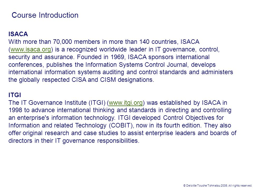 Course Introduction ISACA