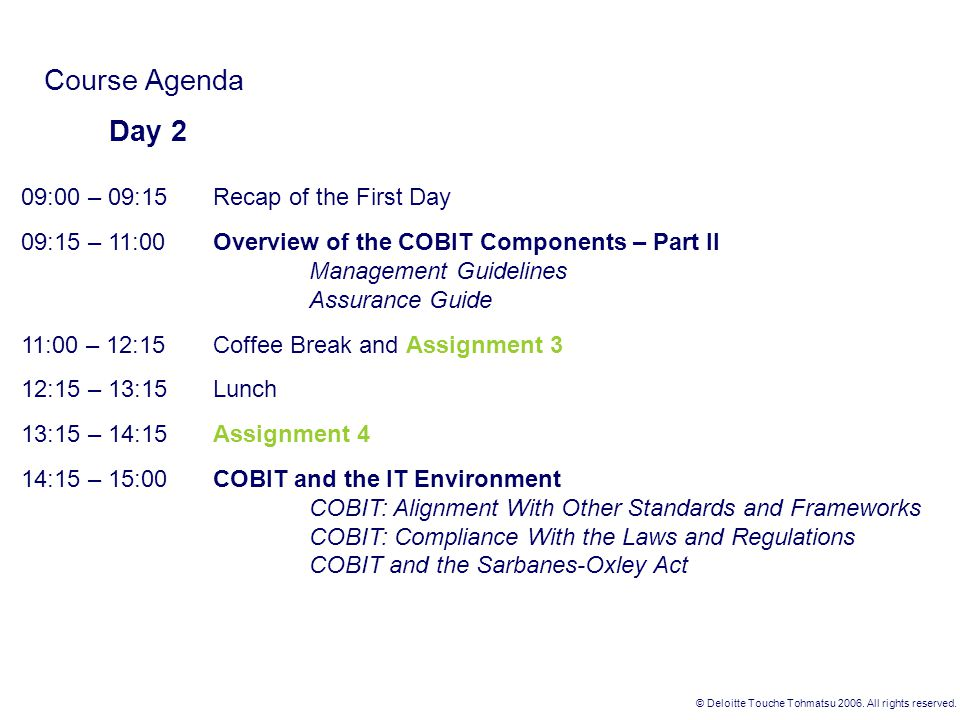 Course Agenda Day 2 09:00 – 09:15 Recap of the First Day
