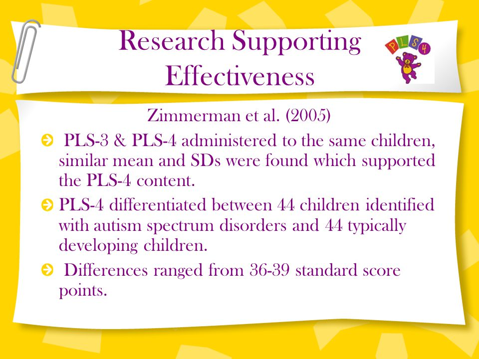 Research Supporting Effectiveness