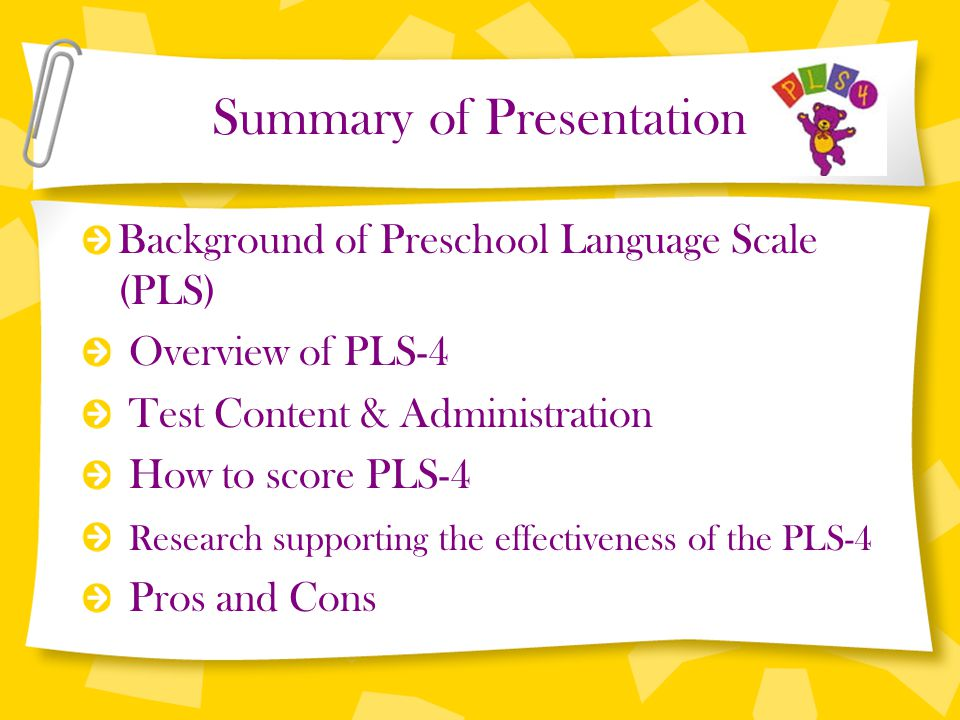 Language and speech assessment scores ages 3 and 4. Preschool.