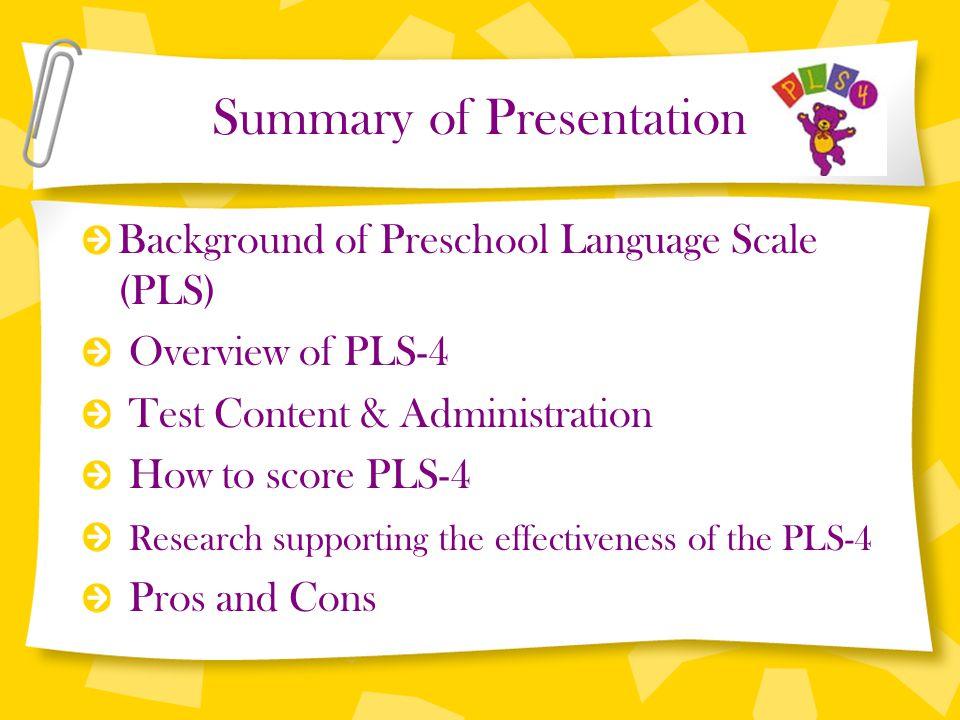 preschool language scale fourth edition ppt video online download rh slideplayer com Pls Screener 4 Preschool Progress Report Samples