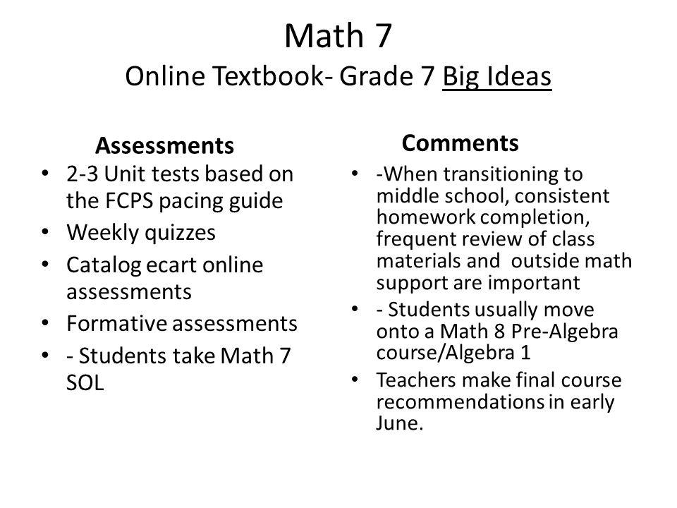 Math 7 Preferred Habits 7th grade level Pre-algebra course