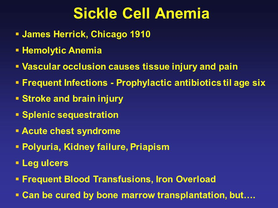 Sickle Cell Anemia James Herrick, Chicago 1910 Hemolytic Anemia
