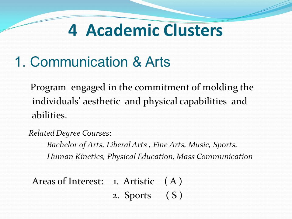 4 Academic Clusters 1. Communication & Arts