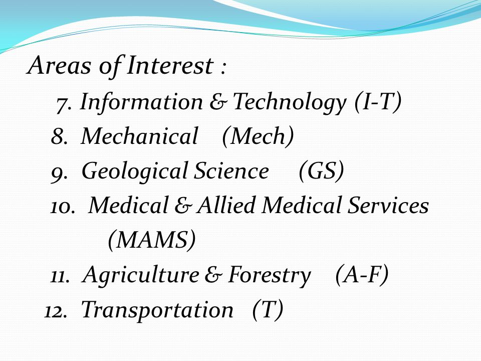 Areas of Interest : 7. Information & Technology (I-T) 8. Mechanical (Mech) 9. Geological Science (GS)