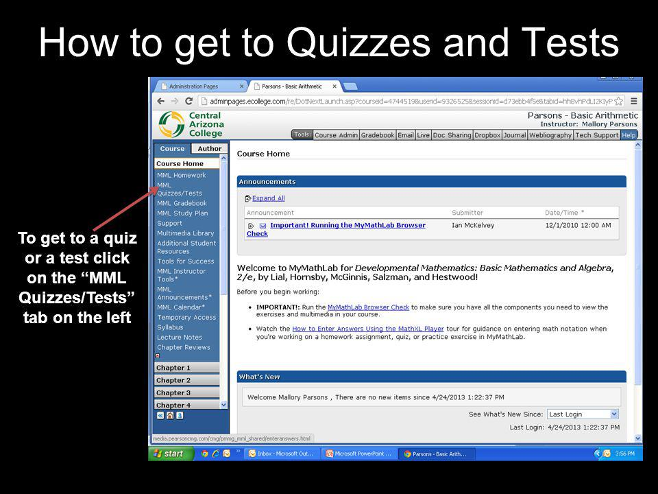 How to get to Quizzes and Tests