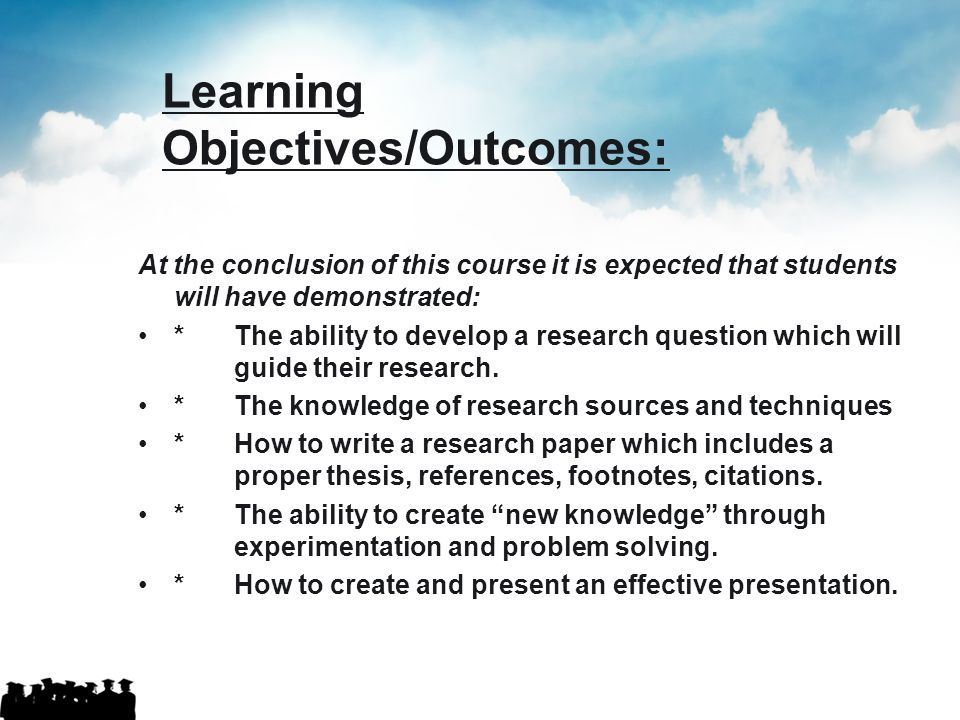 Learning Objectives/Outcomes: