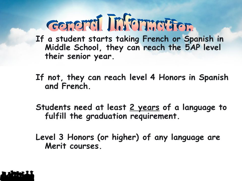General Information If a student starts taking French or Spanish in Middle School, they can reach the 5AP level their senior year.