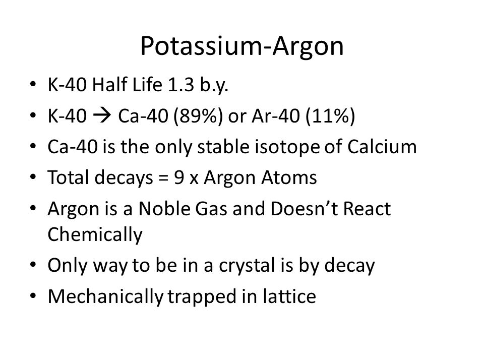 Potassium-argon radiodating theory
